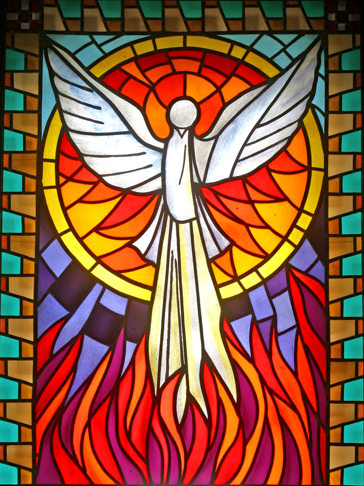 Stained glass window depicting Holy Spirit
