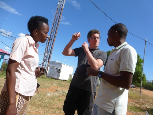 Farida working with engineer Paul & technician Nelson in front of Wimbes mast
