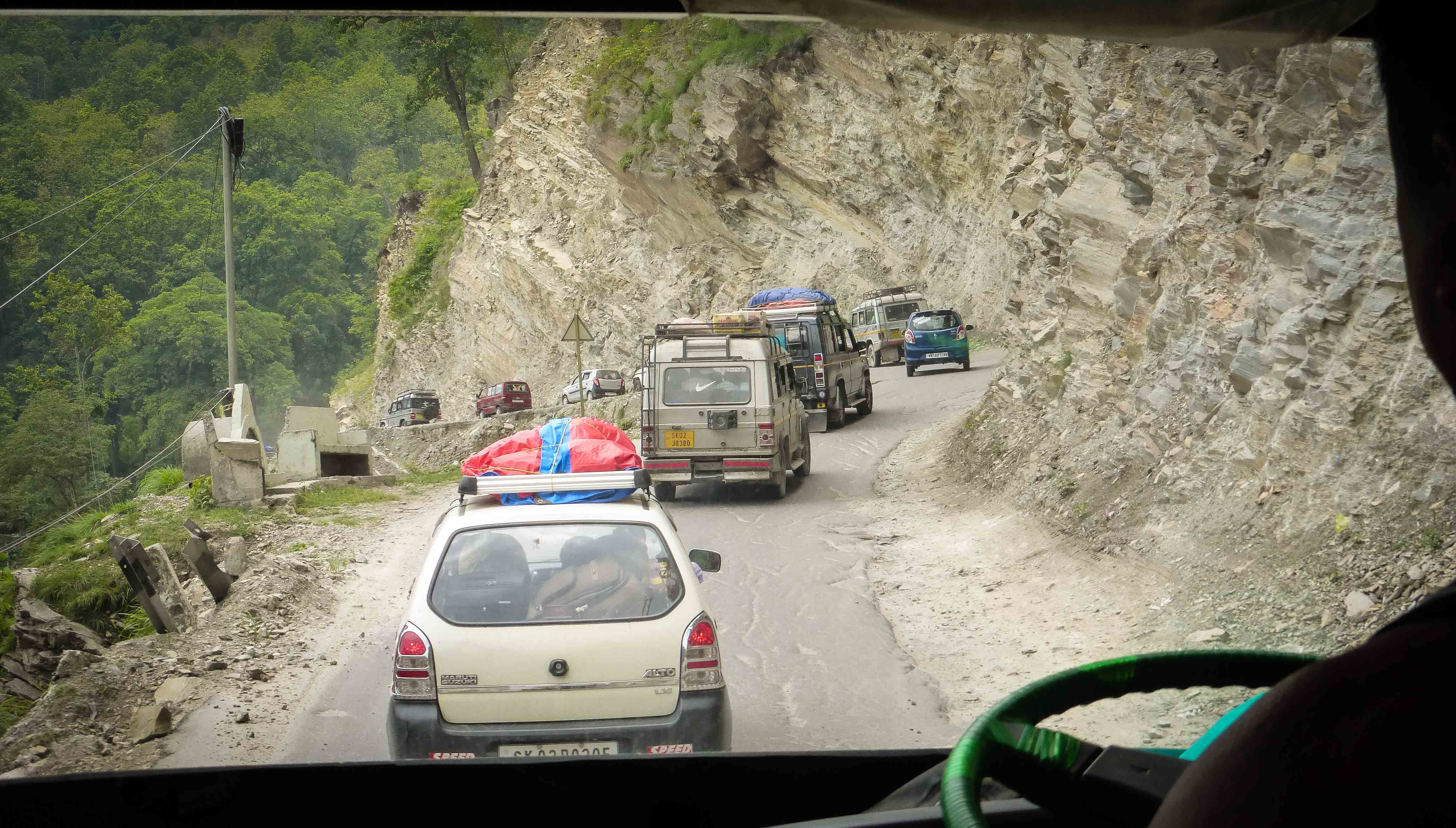 Bus weaves into the mountains of Sikkim
