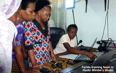 Farida trains team in Wimbes radio studio
