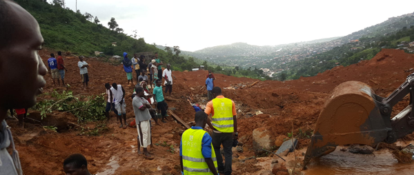 People gather at mudslide site, Sierra Leone