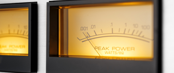 Vintage stero hi-fi amplifier dial - peak power