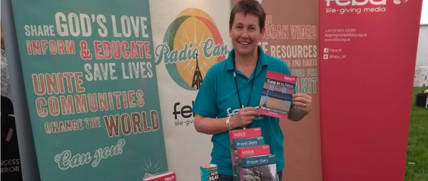 Carole on the Feba stand