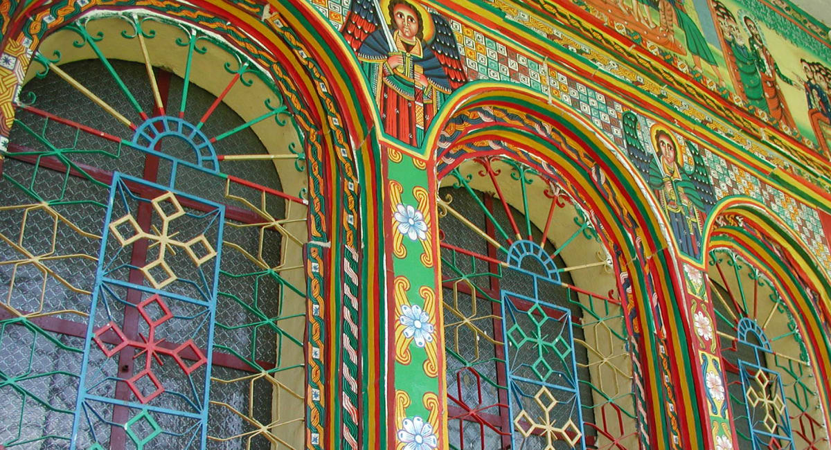 Colourful church window in North East Afric