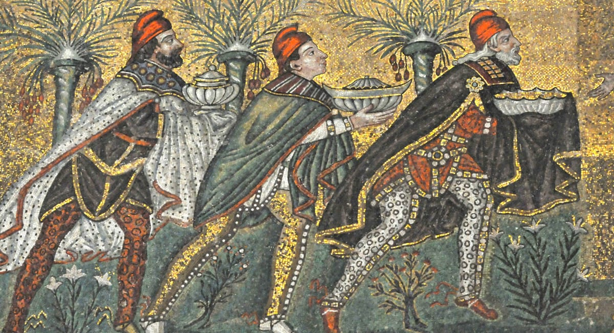 Mosaic of the Magi bringing gold, frankincense & myrrh